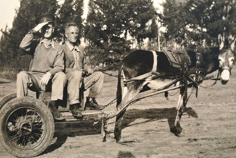 1941- יהודה ישראלי חוזר מהשוק בנתניה לאחר שמכר שם מלפפונים. בדרכו חזרה נתן טרמפ לחייל אנגלי.